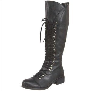 Guess leather black lace up moto combat boots
